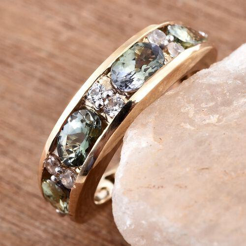 9K Yellow Gold AAA Green Tanzanite (Ovl), Natural Cambodian Zircon Ring 2.250 Ct.