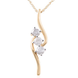 9K Yellow Gold SGL Certified Diamond (Rnd) (I3/G-H) Trilogy Pendant with Chain (Size 18) 0.330 Ct.