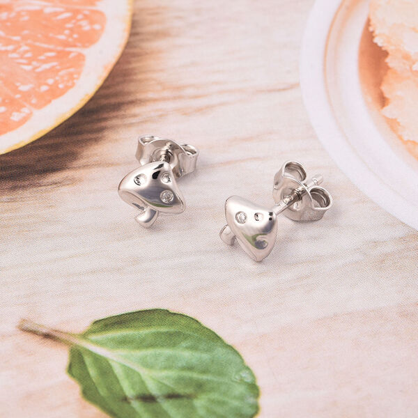 RACHEL GALLEY - Natural Cambodian Zircon Mushroom Earrings (with Push Back) in Rhodium Overlay Sterling Silver