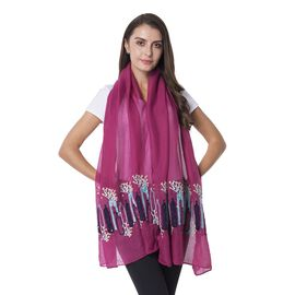 Pink and Purple Colour Scarf with flower Vase Embroidery Pattern (Size 180x70 Cm)