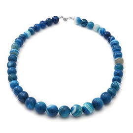 Blue Agate  Beads Necklace (Size - 20) in Rhodium Overlay Sterling Silver 480.0 Ct