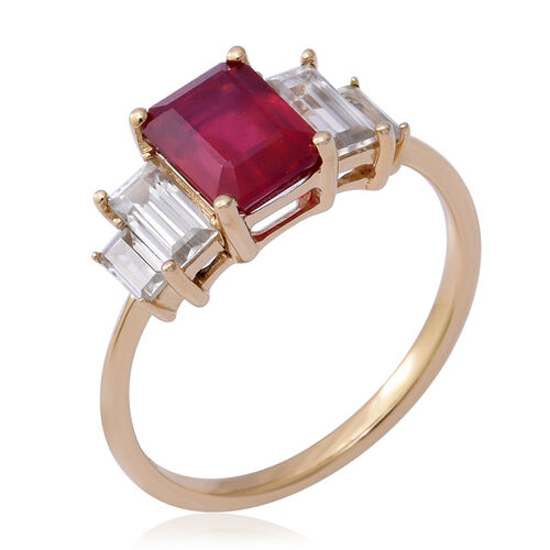 9K Yellow Gold AA African Ruby and Natural Cambodian Zircon Ring 3.76 Ct.