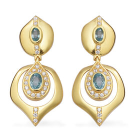 Ratanakiri Blue Zircon and Natural Cambodian Zircon Dangle Earrings (with Push Back) in Yellow Gold
