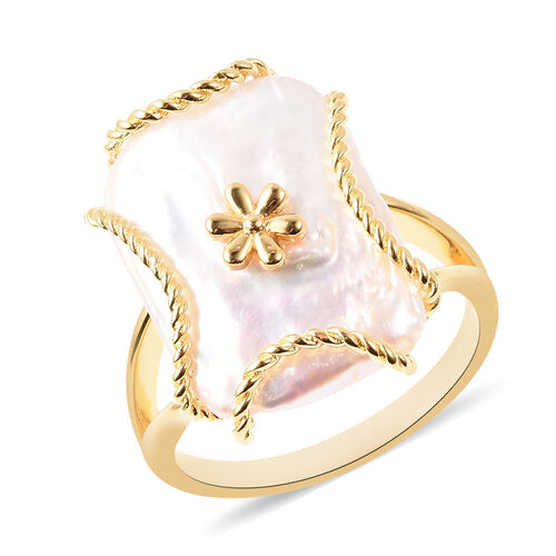 Purple Baroque Pearl Solitaire Floral Ring in Gold Plated Sterling Silver