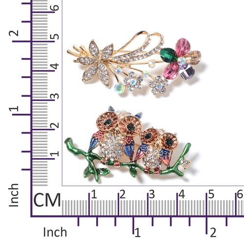 Set of 2- Multi Colour Austrian Crystal and Multi Colour Simulated Diamond Mother and Baby Owl on Branch and Flower Bouquet Enameled Brooch in Yellow Plated