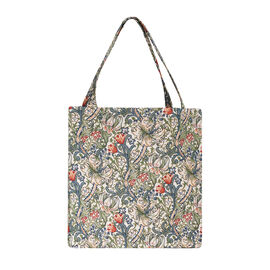 SIGNARE - Tapastry Collection -Golden Lily Free Flat ECO Shopping Bag (31 x 30 x 13.5 cms)