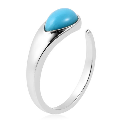 LucyQ Arizona Sleeping Beauty Turquoise (Pr 9x6 mm) Open Drop Ring in Rhodium Overlay Sterling Silver.