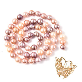 Multi Colour Edison Pearl and Natural Cambodian Zircon Necklace or Brooch (Size 24) in Yellow Gold O