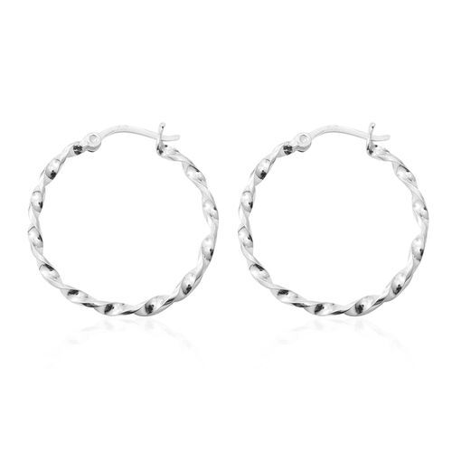 Sterling Silver Twist Hoop Earrings (with Clasp), Silver wt 3.86 Gms.