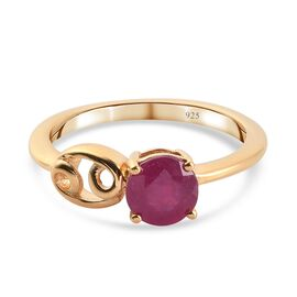 African Ruby  Ring in 14K Gold Overlay Sterling Silver 1.15 Ct.