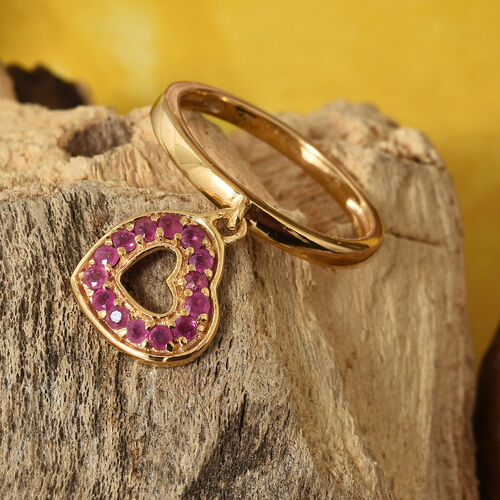African Ruby (Rnd) Heart Charm Ring in 14K Gold Overlay Sterling Silver 0.500 Ct.