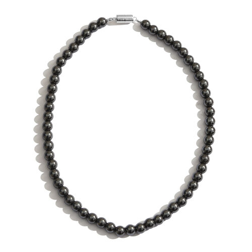 100% Natural Hematite (Rnd) Necklace (Size 18) with Magnetic Clasp in Rhodium Plated Sterling Silver 415.000 Ct.