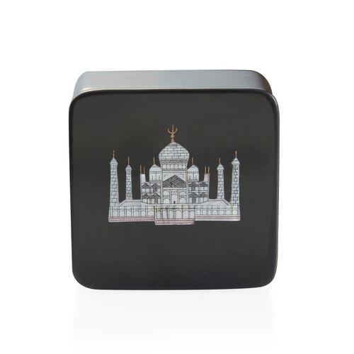 Soapstone Black Round Box with Beautiful Taj Mahal (Size 4)
