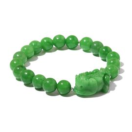 One Time Deal -Very Rare Green Jade Bracelet (Size 7) in Rhodium Plated Sterling Silver 114.600 Ct.