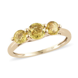 9K Yellow Gold AA Yellow Sapphire (Rnd) Trilogy Ring 1.250 Ct.