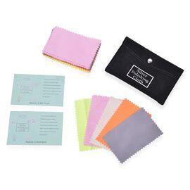 30 Pcs Anti-Tarnish Silver Polishing Clean Cloths in Black Pouch (Size 10.8x6.8 Cm) Colour - Pink,Gr
