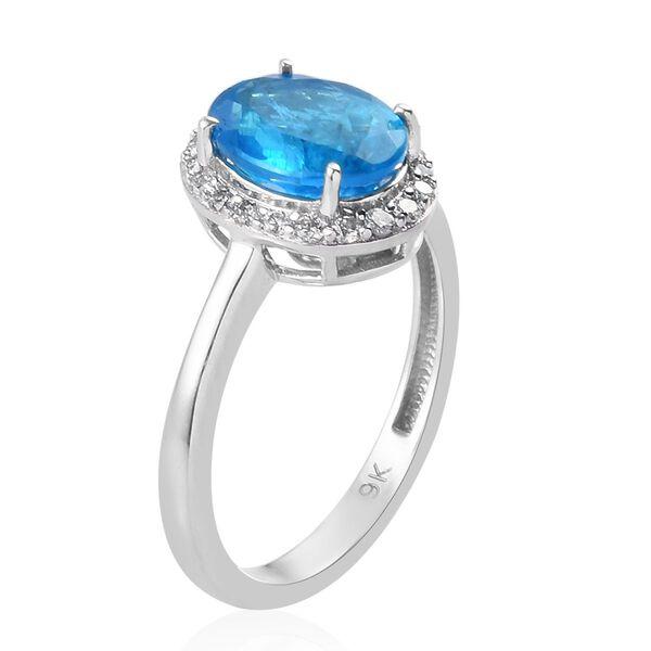 9K White Gold Malgache Neon Apatite and Natural Diamond (I3-H) Ring 2.15 Ct.