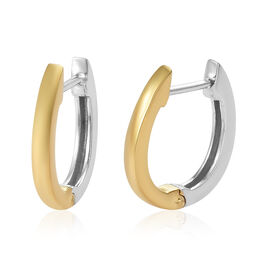 Platinum and Yellow Gold Overlay Sterling Silver Hoop Earring (with Clasp)