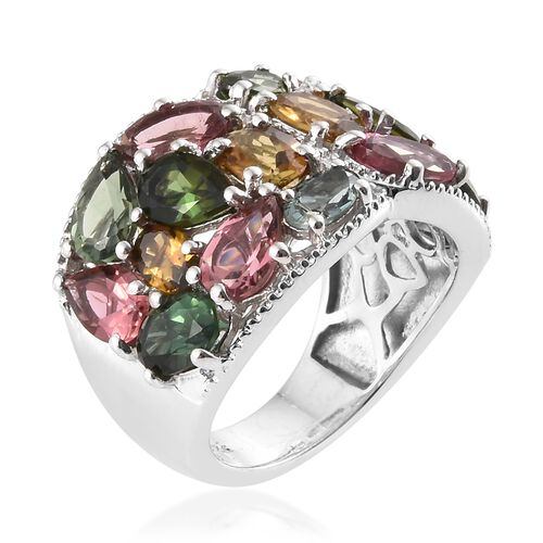 Rainbow Tourmaline (Ovl) Cluster Ring in Platinum Overlay Sterling Silver 6.500 Ct. Silver wt 5.80 Gms.
