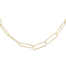 Desginer Inspired - Open Link Charm Necklace in 14K Gold Overlay Sterling Silver (Size 30)