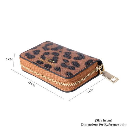 Sencillez - Leopard Print Genuine Leather RFID Wallet with Card Holder and Zipper Closure (Size 11x2x7cm) - Brown