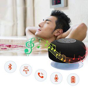 'Multi Use Rain / Splash Proof Wireless Bluetooth Stereo Speaker With Built-in Mic - Black