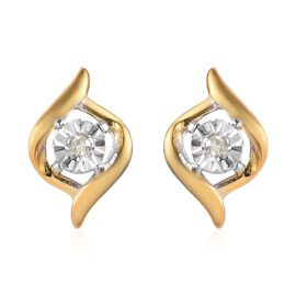 Diamond Stud Earrings (with Push Back) in Platinum and Yellow Gold Overlay Sterling Silver 0.03 Ct.