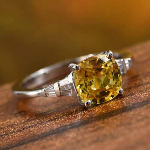 RHAPSODY 950 Platinum Loupe Clean AAAA Yellow Sapphire (Cush 7x7 mm), Diamond (VS/E-F) Ring 2.00 Ct.