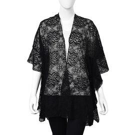 Black Colour Floral Lace Kimono (Size 70x75 Cm)