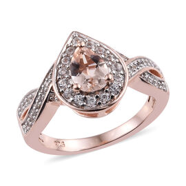 Marropino Morganite (Pear), Natural Cambodian Zircon Ring in Rose Gold Overlay Sterling Silver 1.00