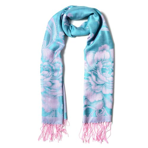 Designer Inspired- Turquoise Green and Pink  Colour Subshrubby Peony Flower Pattern Scarf (Size 180X68 Cm)