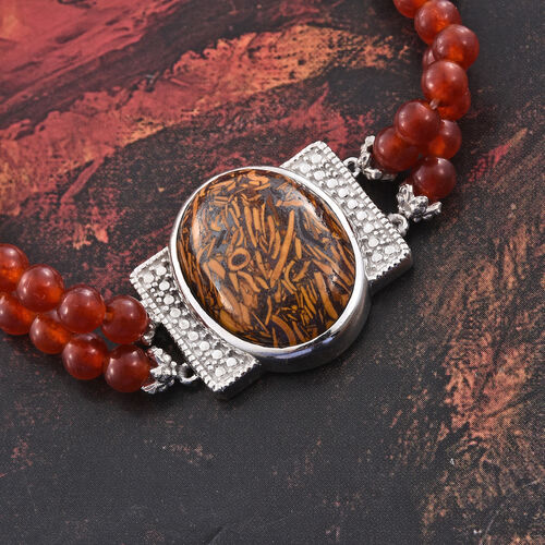 Rare Natural Honey Jasper (Ovl 10.50 Ct), Red Quartzite Dual Strand Bracelet (Size 7.5) in ION Plated Platinum Bond and Stainless Steel 28.500 Ct.