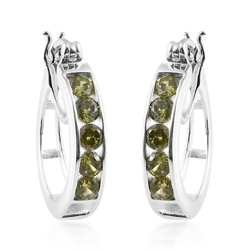 ELANZA Simulated Diopside (Rnd) Hoop Earrings (with Clasp Lock) in Sterling Silver, Silver wt 5.52 G