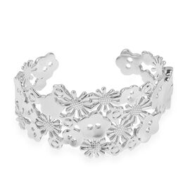 LucyQ Floral Bangle (Size 7) with Hinge in Rhodium Plated Sterling Silver 47.60 Gms.