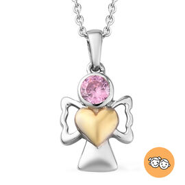 Simulated Pink Sapphire Pendant With Chain (Size 20) in Yellow Gold and Platinum Overlay Sterling Si