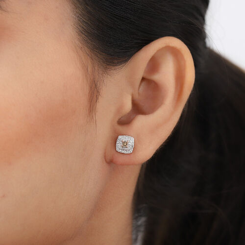 9K Rose Gold SGL Certified White and Champagne Diamond (I3/G-H) Stud Earrings (with Push Back) 0.50 Ct.