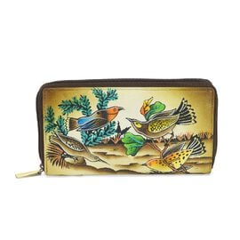 SUKRITI PERIMER Super Soft Genuine Leather Handprint RFID Protected Bird Wallet (Size 18.5x10.52 Cm)