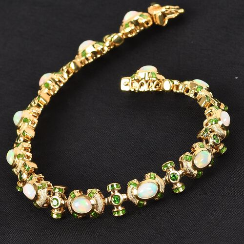 Ethiopian Welo Opal and Russian Diopside Enamelled Bracelet (Size 8) in 14K Gold Overlay Sterling Silver 4.50 Ct, Silver wt. 20.00 Gms