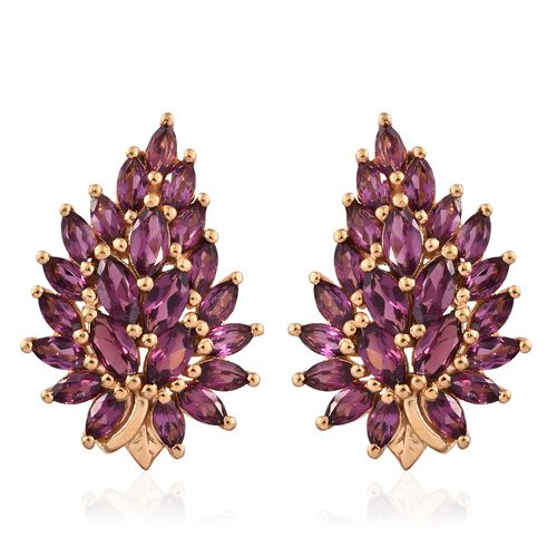 AAA Rhodolite Garnet (Mrq) Earrings (with Push Back) in 14K Gold Overlay Sterling Silver 5.250 Ct.