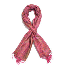 SILKMARK - 100% Superfine Silk Pink, Green and Multi Colour Paisley Pattern Reversible Scarf with Ta