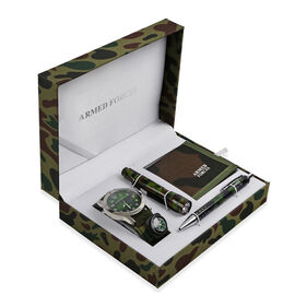Gift Set of Wallet, Watch, Pen and Torch- Camouflage Green