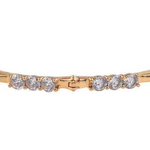 J Francis - 14K Gold Overlay Sterling Silver (Rnd) Bangle (Size 7.5) Made with SWAROVSKI ZIRCONIA,Silver wt. 12.75 Gms.