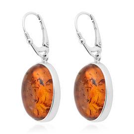 Baltic Amber (Ovl) Bezel Earrings in Sterling Silver
