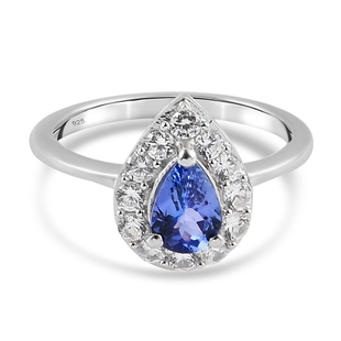 Tanzanite and Natural Cambodian Zircon Ring in Platinum Overlay Sterling Silver 1.04 Ct.