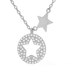 Rhodium Overlay Sterling Silver Star Disc Necklace (Size 18 with Extender)
