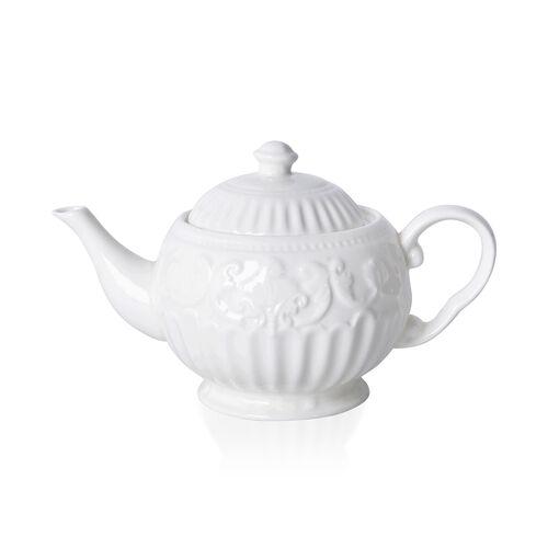 22 Piece Set - Art Deco - Flower Embossed Tea Set (Consists of 6 Cups, 6 Saucers, 7 Spoons, 1 Sugar Jar, 1 Milk Jar, 1 Tea Pot) - White