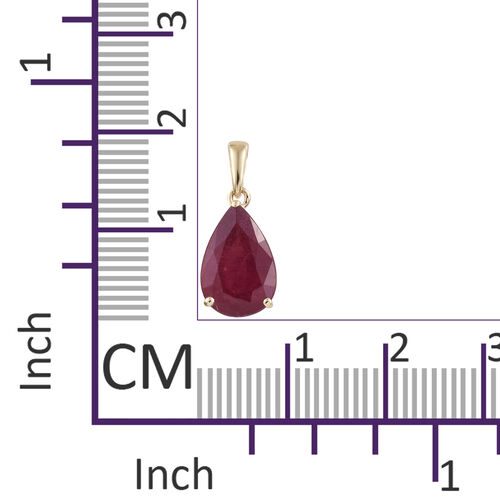 9K Yellow Gold African Ruby (Pear) Pendant  3.850  Ct.