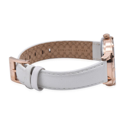 Police MARIETAS Rose Gold Tone Watch with White Leather Strap