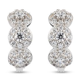 J Francis Platinum Overlay Sterling Silver Cluster Earrings (with Clasp) Made with SWAROVSKI ZIRCONI