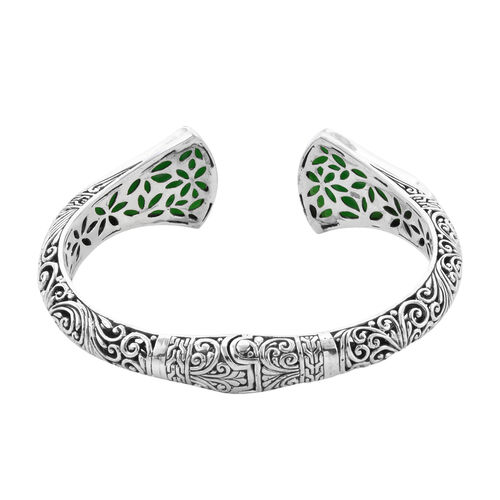 Royal Bali Collection - Carved Green Jade Bangle (Size 7.25) in Sterling Silver 45.96 Ct, Silver wt 29.00 Gms